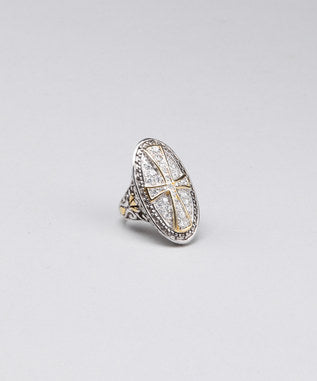 Sidran Gray Sterling Silver Ring Two-Tone Cross Clear CZ Stones