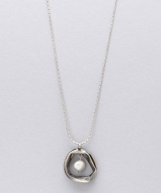 Sidran White Sterling Silver Pendant Antiqued Silver & Freshwater Pearl
