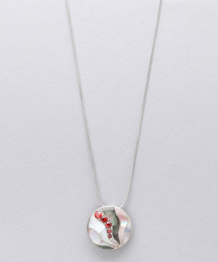 Sidran Red Sterling Silver Pendant Colored Shell with Coffee CZ Stones