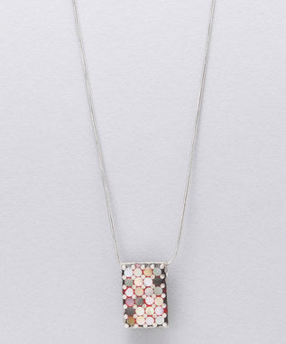 Sidran Pink Sterling Silver Rectangular Pendant Multi-Colored Shell