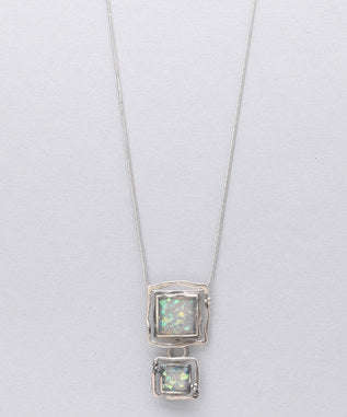 Sidran Pink Square Pendant Antiqued Sterling Silver Iridescent