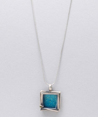 Sidran Blue Sterling Silver Pendant Iridescent Square Shaped Collection