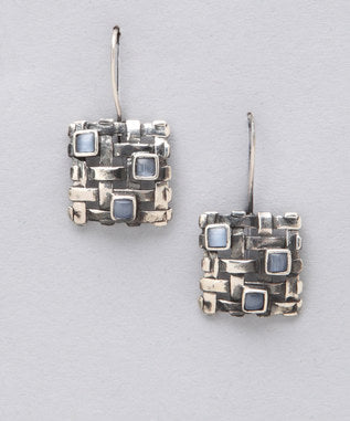 Sidran Earrings Antiqued Sterling Silver with Opal Stone Collection