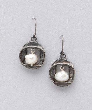 Sidran White Earrings Antiqued Sterling Silver & Freshwater Pearl