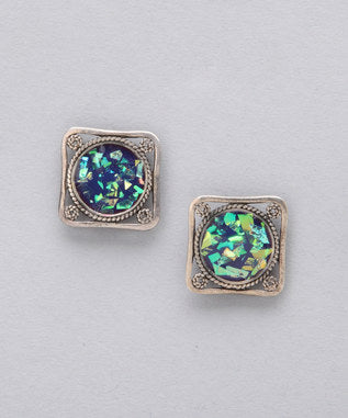Sidran Blue Earrings Irisdescent & Antiqued Sterling Silver