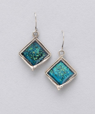 Sidran Blue Sterling Silver Earrings Iridescent Squared Shaped