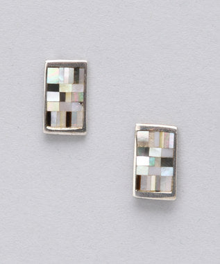 Sidran Beige Sterling Silver Earrings Mosaic Pattern with Colored Shell