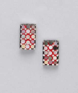 Sidran Pink Sterling Silver Earrings Multi-Colored Shell & Rectangle Shaped