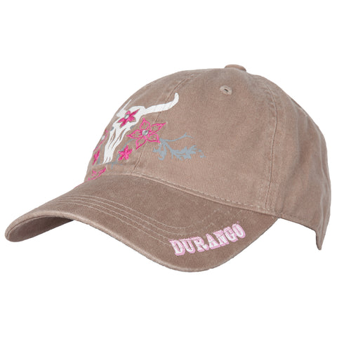 Durango Womens Tan Canvas Cow Skull Pink Embroidered Ballcap Hat