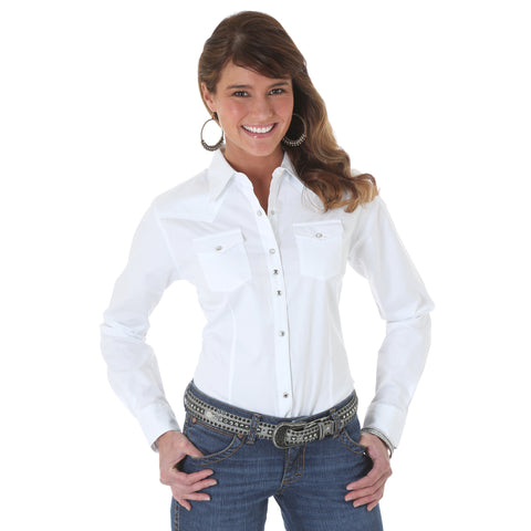 Wrangler White Cotton Blend Womens Western Fashion L/S Shirt