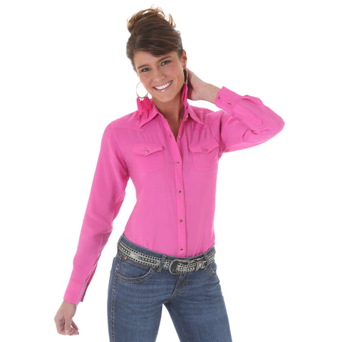 Wrangler Pink Cotton Blend Womens Western Fashion L/S Shirt