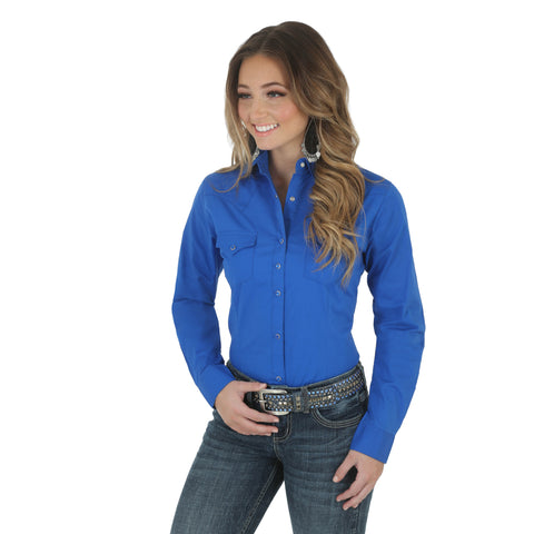 Wrangler Womens Royal Blue Cotton Blend Fashion L/S Shirt