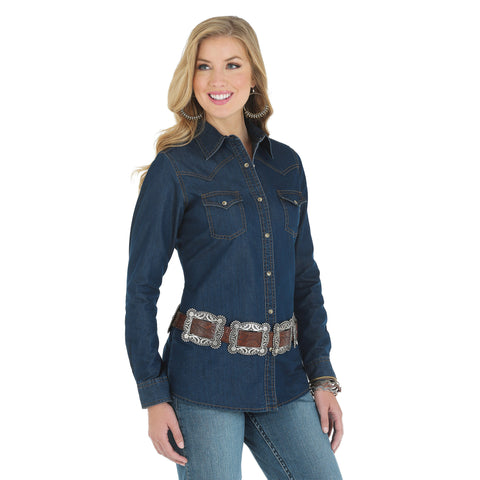 Wrangler Darkest Denim Cotton Blend Womens Western Fashion L/S Shirt