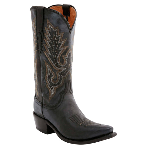 Lucchese Mens Cowboy Boots Black Goat Leather