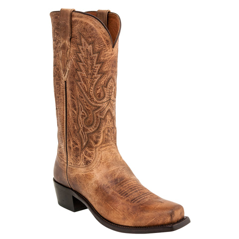 Lucchese Mens Cowboy Boots Tan Goat Leather