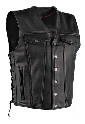Milwaukee Gambler Mens Motorcycle Vest Black Leather