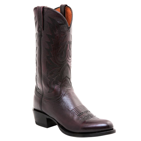 Lucchese Mens Cowboy Boots Black Cherry Lonestar Calf Leather