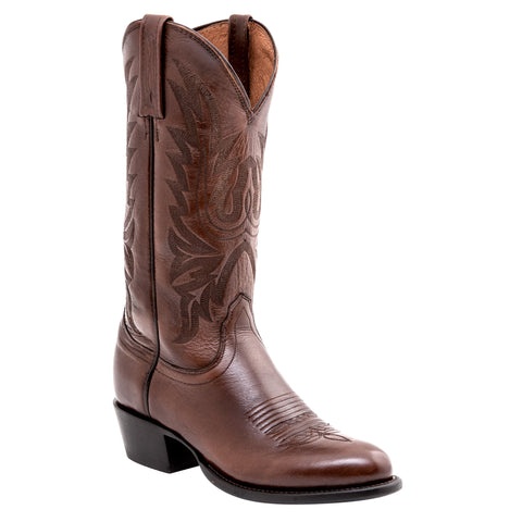 Lucchese Mens Cowboy Boots Antique Brown Lonestar Calf Leather