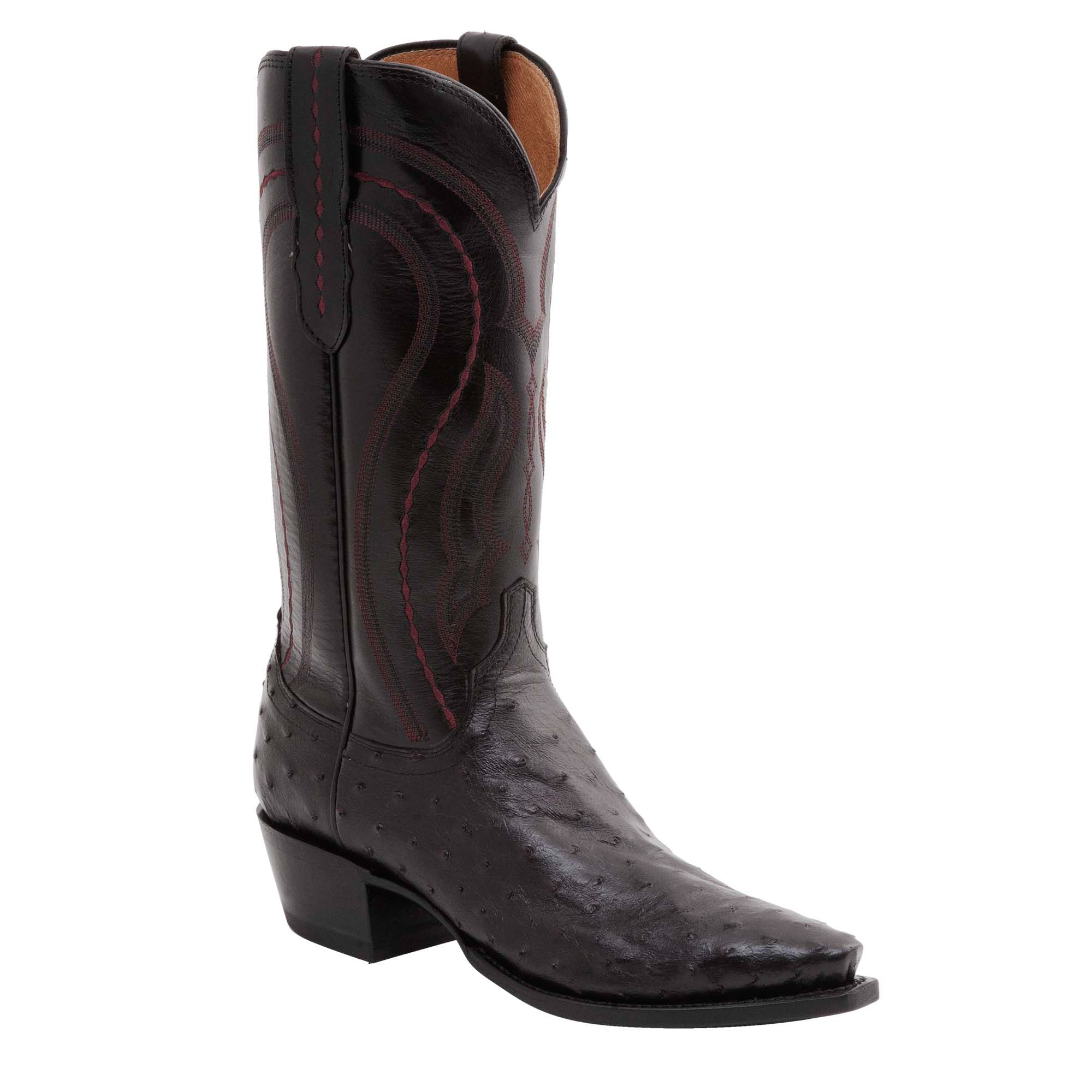 fd3d65eb850 Lucchese Mens Cowboy Boots Black Cherry Full Quill Ostrich