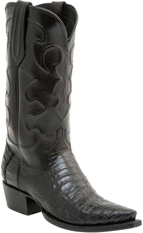 Lucchese Mens Cowboy Boots Black Caiman Belly