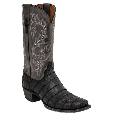 Lucchese Mens Cowboy Boots Black Giant American Alligator