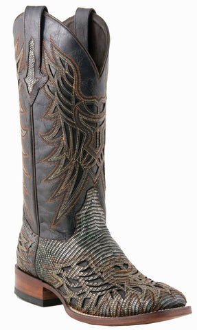 Lucchese Womens Cowboy Boots Black Metallic Lizard