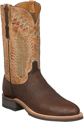 Lucchese Mens Cowboy Boots Booster Brown Bull Shoulder