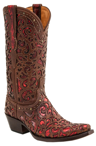 Lucchese Womens Cowboy Boots Whiskey Cowhide Leather