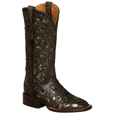 Lucchese Womens Cowboy Boots Espresso Cowhide Leather