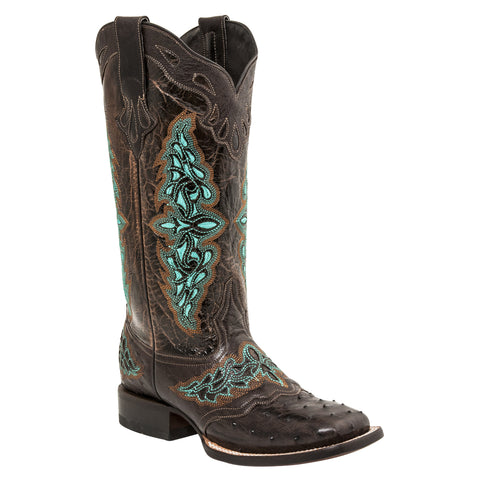 Lucchese Womens Cowboy Boots Cafe Brown Full Quill Ostrich