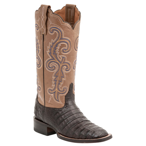 Lucchese Womens Cowboy Boots Cafe Brown Caiman Belly