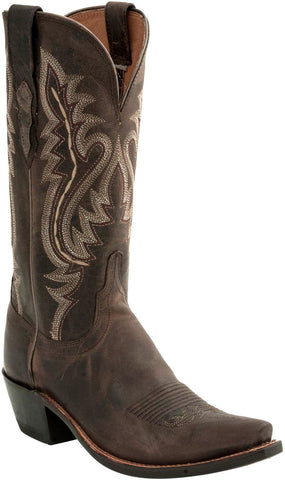 Lucchese Womens Cowboy Boots Chocolate Goat Leather