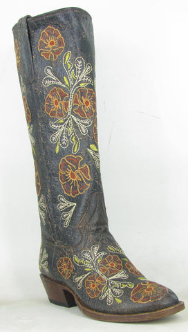 Macie Bean Womens Chocolate Leather Vivid Floral Cowboy Boots