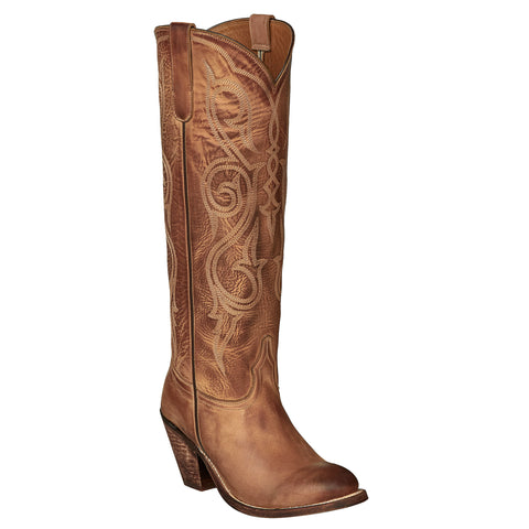 Lucchese Womens Cowboy Boots Eggshell Cowhide Leather