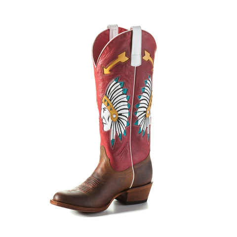 Macie Bean by Anderson Bean Womens Red Leather Cowboy Boots Chief
