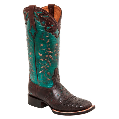 Lucchese Womens Cowboy Boots Cafe Brown Hornback Caiman