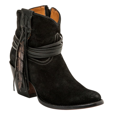 Lucchese Womens Fashion Boots Black Burnished Cowhide