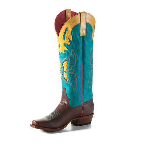 Macie Bean by Anderson Bean Womens Turquoise Leather Cowboy Boots Mariposa