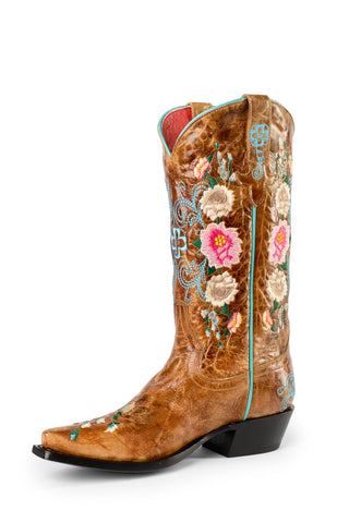 Macie Bean by Anderson Bean Youth Honey Leather Cowboy Boots Floral