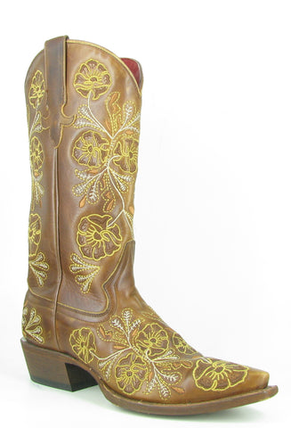 Macie Bean Womens Whiskey Bent Leather Gold Floral Cowboy Boots