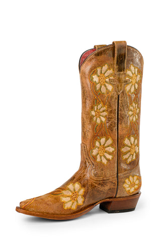 Macie Bean Womens Natural Leather Floral Crater Cowboy Boots