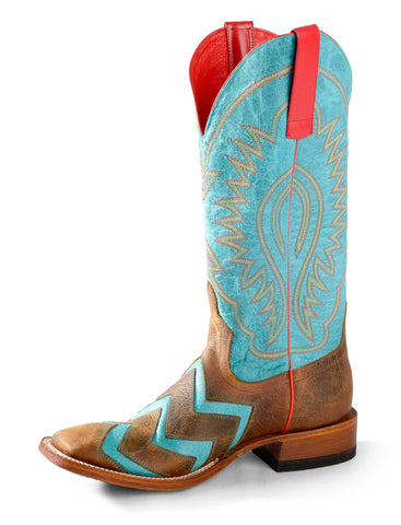 Macie Bean by Anderson Bean Womens Turquoise Leather Cowboy Boots Wave