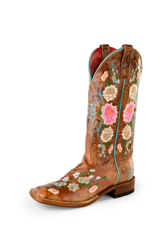 Macie Bean by Anderson Bean Womens Honey Leather Cowboy Boots Floral