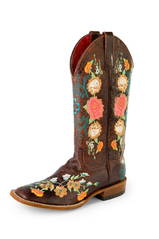 Macie Bean Womens Chocolate Leather Sweet 16 Cowboy Boots