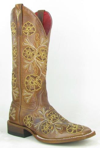 Macie Bean Womens Whiskey Leather Josephine Floral Cowboy Boots