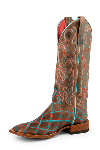 Macie Bean Womens Mad Dog Leather Tilt A Whirl Cowboy Boots