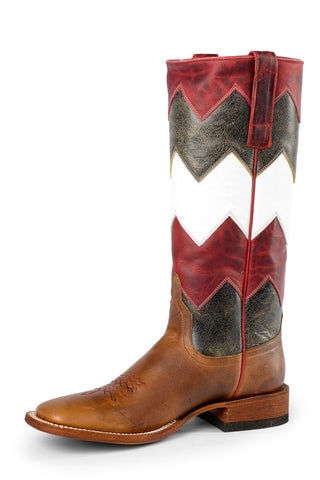 Macie Bean Womens Red/White Leather Moka Show Steer Cowboy Boots