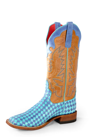 Macie Bean Womens Brown Leather Unbeweavable Turquoise Cowboy Boots
