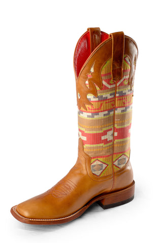 Macie Bean by Anderson Bean Womens Whiskey Leather Cowboy Boots Serape