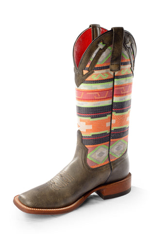 Macie Bean by Anderson Bean Womens Black Leather Cowboy Boots Serape